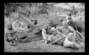 Stan Winston's team, who brought the JP Triceratops to life. Steven Spielberg and Sam Neill pictured.