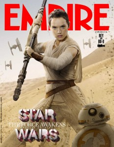 Daisy Ridley as Rey, flanked by new globular droid BB-8.