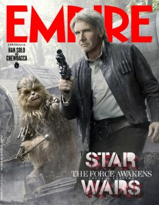 Harrison Ford as Han Solo, accompanied as always by his faithful sidekick Chewbacca, played by Peter Mayhew.