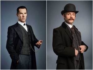 Benedict Cumberbatch's Mr. Holmes and Martin Freeman's Dr. Watson in all their Victorian finery.