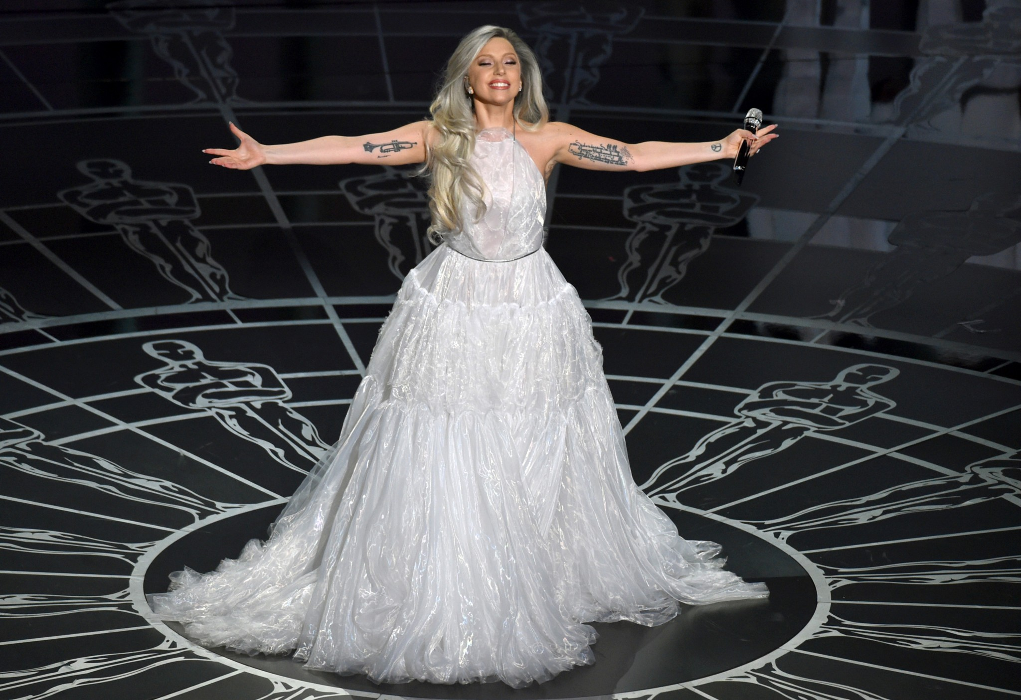 Lady Gaga performs on stage at the Oscars on Sunday, Feb. 22, 2015, at the Dolby Theatre in Los Angeles. (Photo by John Shearer/Invision/AP)